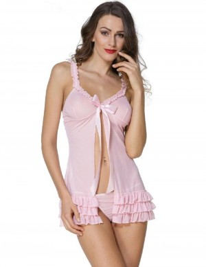 FireFond Net Frilled Open Front Baby Doll Dress With Panty (Pink - Free Size)