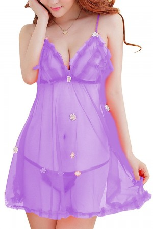 FireFond Imported Net Mesh Baby Doll Dresses With Panty (Purple - Free Size)