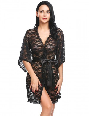 FireFond Imported Transparent Floral Net Open front Baby Doll Nighty Dress Without Panty (Black- Free Size)