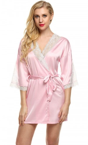 FireFond Satin with Laces Open front Baby Doll Nighty Dress Without Panty (Pink- Free Size)