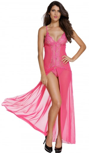 FireFond Imported Transparent Nylon Net with Laces Long Gawn Dress Without Panty (RoseRed- Free Size)