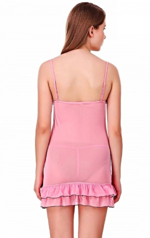 FireFond Net Frilled Baby Doll Dress With Panty (Pink - Free Size)